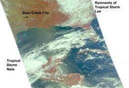 NASA's Aqua satellite sees 3 in 1: Tropical storms Nate, Lee, fires