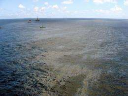 Supply boats cleaning an oil spill found in November around a Chevron platform