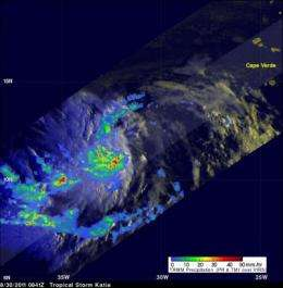 TRMM satellite sees heavy rain, towering clouds in Tropical Storm Katia