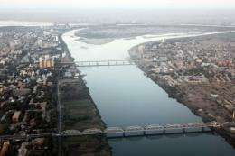An aerial view shows the Nile river cutting through Khartoum in January 2011
