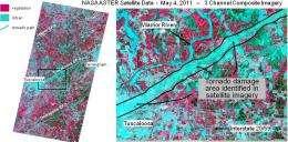 NASA satellite observes damage path of april tornadoes