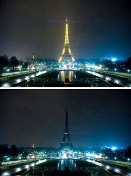 A combo shows the Eiffel tower submerging into darknes