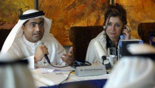 Ahmed Mansoor with Sarah Leah Whitson of Human Rights Watch at a news conference in Dubai in January