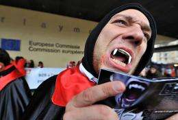 A man dressed as a 'vampire' is seen in Brussels