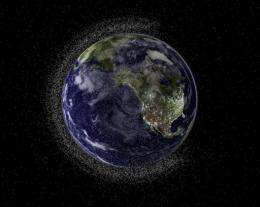 An illustrated view of the Earth with low-orbiting space debris
