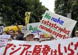 Anti-nuclear demonstrators outside Tokyo Electric Power Co headquarters in Tokyo last week