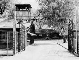 A photo of the gate at Auschwitz concentration camp taken in April 1945