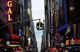 A street light turns green in New York