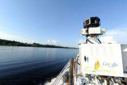 A view of a 360-degree camera system mounted on a Trike atop a boat