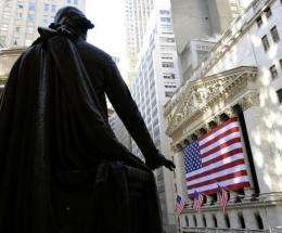A view of Wall Street from the steps of Federal Hall in lower Manhattan in 2009.