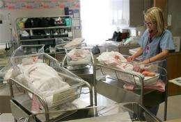 Is economy best birth control? US births dip again (AP)