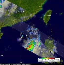 NASA sees heavy rainfall in Tropical Storm Sarika