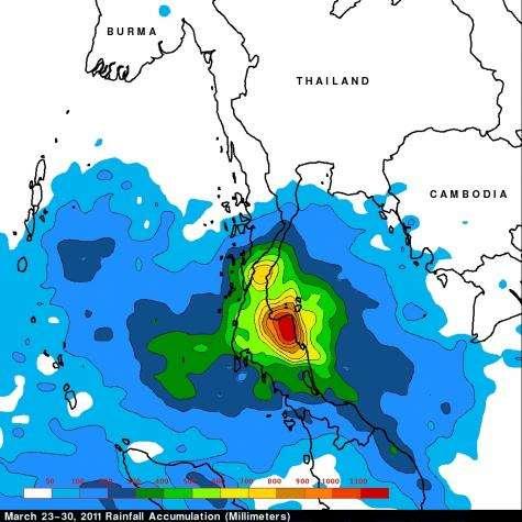 NASA's TRMM satellite sees deadly rainfall over Thailand