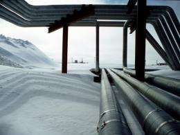 Pipes at the BP oil production facility in Prudhoe Bay, Alsaka