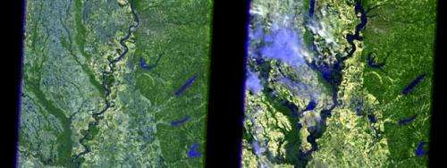 Satellite images display extreme Mississippi River flooding from space