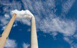 Smoke stacks are pictured at a coal power plant in the US in 2009