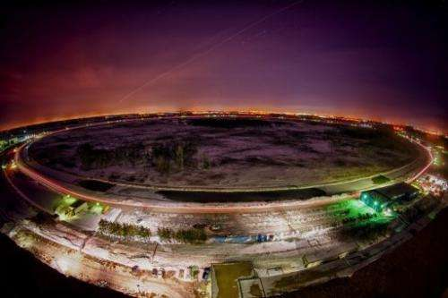 The Tevatron particle accelerator is seen here just outside of Batavia, Illinois