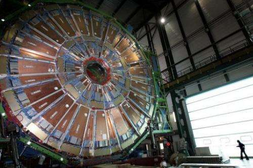 This file photo shows a layer of the world's largest superconducting solenoid magnet (CMS)