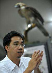 Wildlife specialist Anson Tagtag speaks at the Ninoy Aquino Parks and Wildlife Center in Quezon City