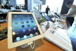 Apple's iPad is displayed at a branch of KT, a Korean distributor of iPhones and iPads