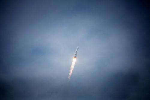 A Soyuz rocket carrying a pair of Galileo In-Orbit Validation satellites