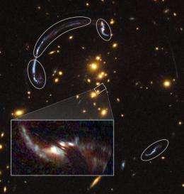 Gravitational lens reveals details of distant, ancient galaxy