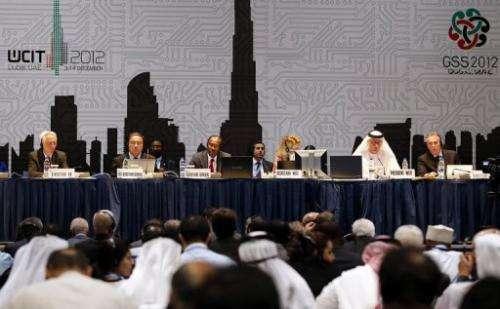 Hamadoun Toure (C) addresses a press conference at the WCIT-12 in Dubai on December 14, 2012