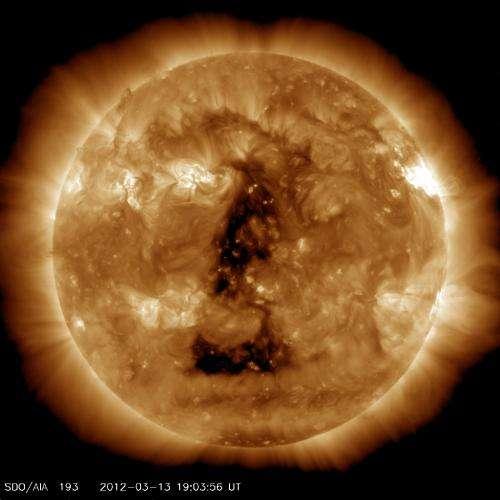 Huge coronal hole is sending solar wind our way