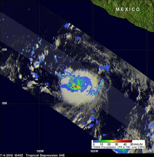 NASA sees tropical fireworks in E. Pacific in newborn Tropical Storm Daniel