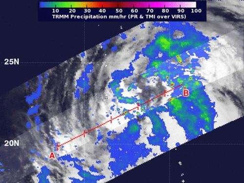 NASA sees heaviest rainfall in Tropical Storm Maliski's eastern side