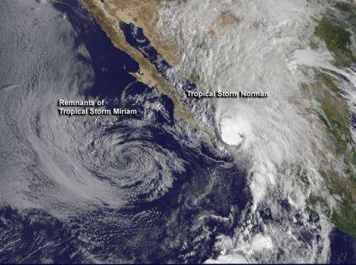 NASA sees Tropical Storm Miriam takes final bow, replaced by Norman