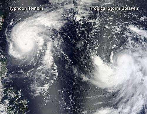 NASA satellites see 2 intensifying northwestern Pacific tropical cyclones