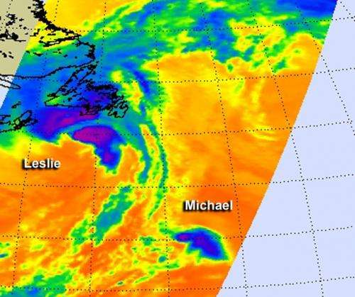 NASA infrared data reveals fading Tropical Storm Leslie and peanut-shaped Michael