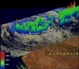 NASA's TRMM satellite sees tropical storm Lua's rainfall