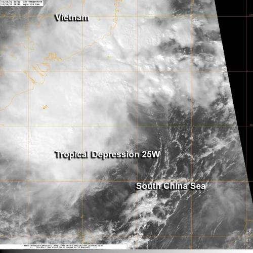 NASA satellite sees newborn Tropical Depression 25W raining on southern Vietnam