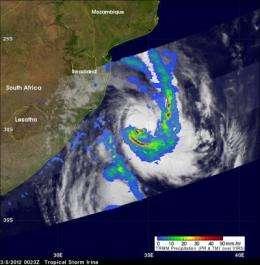 NASA satellites see Tropical Storm Irina getting loopy