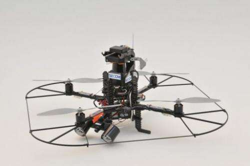 A drone, produced by Germany's Ascending Technologies, with a surveillance camera, seen on December 27, 2012