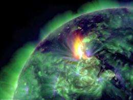 A January 19 image provided by NASA shows an M3.2 solar flare captured by the Solar Dynamics Observatory