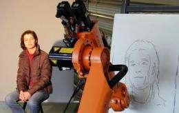 A robot sketches portraits