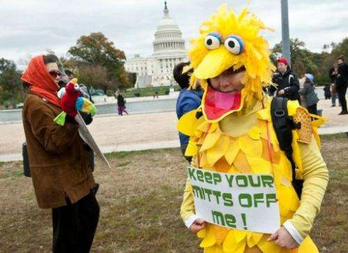 """A woman wearing a costume of Big Bird holds a sign in support of public broadcasting during the """"Million Puppet March"""""""
