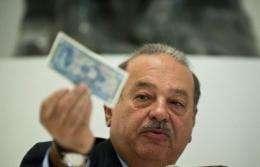Carlos Slim at a press conference at the Soumaya Museum in Mexico City