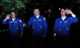 (From L-R) Japanese astronaut Akihiko Hoshide, Russian cosmonaut Yury Malenchenko and US astronaut Sunita Williams