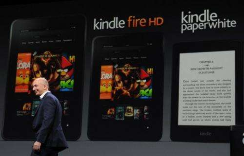 Jeff Bezos CEO of Amazon introduces a new Kindle electronic book on September 6, 2012 in Santa Monica, California.