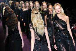 Models display creations as part of Gucci Fall-winter 2012-2013 collection during the Women's fashion week in Milan