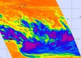 NASA's Aqua satellite sees small new tropical storm near Tonga