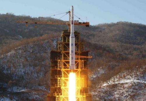 North Korean rocket Unha-3, carrying the satellite Kwangmyongsong-3, lifts off from its launching pad in North Korea