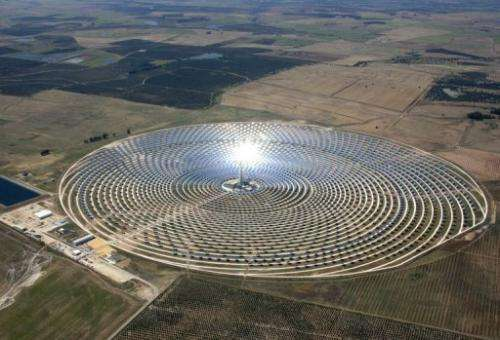 Panels reflect the sun's rays on to the Gemasolar tower, at an intensity 1,000 times higher than a sunbeam