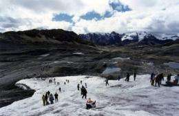 Part of the Pastoruri snowcapped mountain in the central Peruvian Andes