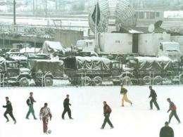 Sarajevo soccer players train in the snow in January