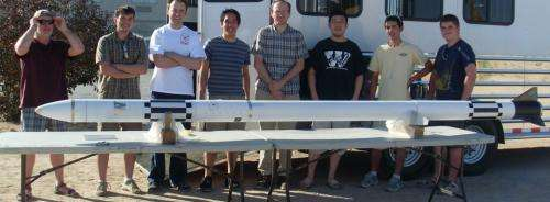 Student-built rocket with experimental motor blasts to 1st-place finish